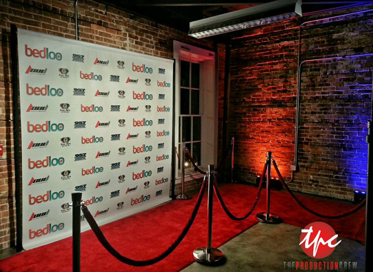 The Production Crew Events - red carpet wall design